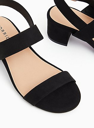 Black Faux Suede Ankle Strap Block Heel (WW), BLACK, alternate