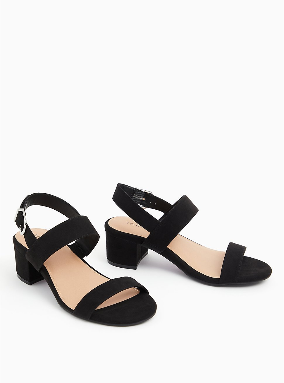 Black Faux Suede Ankle Strap Block Heel (WW), BLACK, hi-res