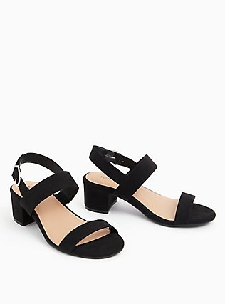 Black Faux Suede Ankle Strap Block Heel (WW), BLACK, hi-res