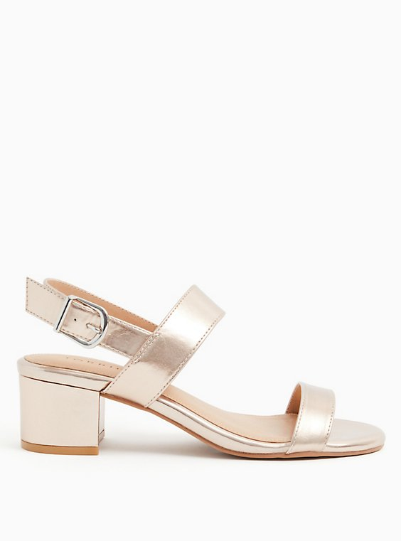 Rose Gold Faux Leather Ankle Strap Block Heel (WW), , hi-res