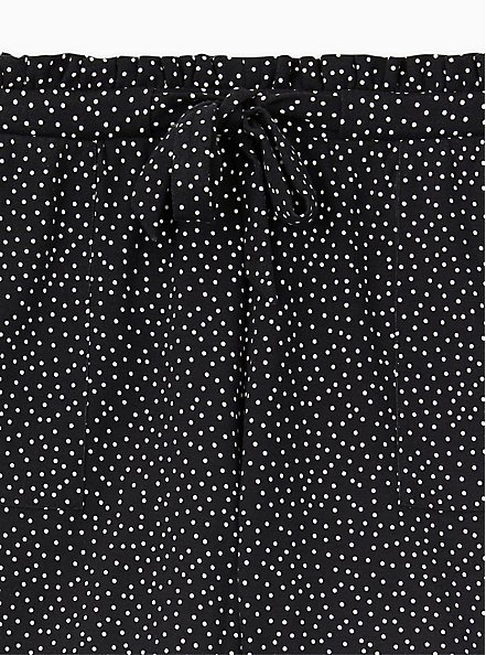 Drawstring Paperbag Waist Mid Short - Ponte Ditsy Dots White & Black , TEENSY DOT, alternate