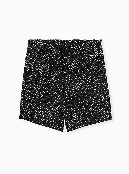 Drawstring Paperbag Waist Mid Short - Ponte Ditsy Dots White & Black , TEENSY DOT, hi-res