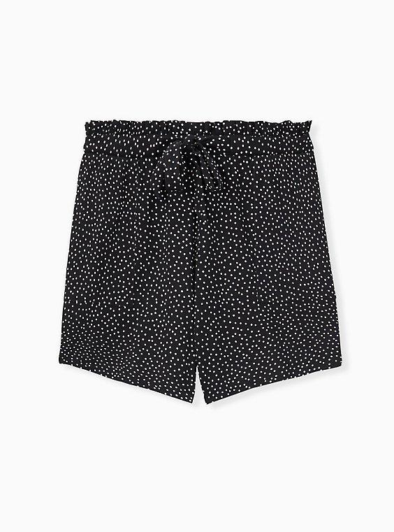 Drawstring Paperbag Waist Mid Short - Ponte Ditsy Dots White & Black , , hi-res