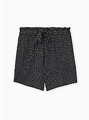 Drawstring Paperbag Waist Mid Short - Ponte Ditsy Dots White & Black , TEENSY DOT, hi-res