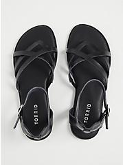 Black Faux Leather Strappy Gladiator Sandal (WW), BLACK, alternate