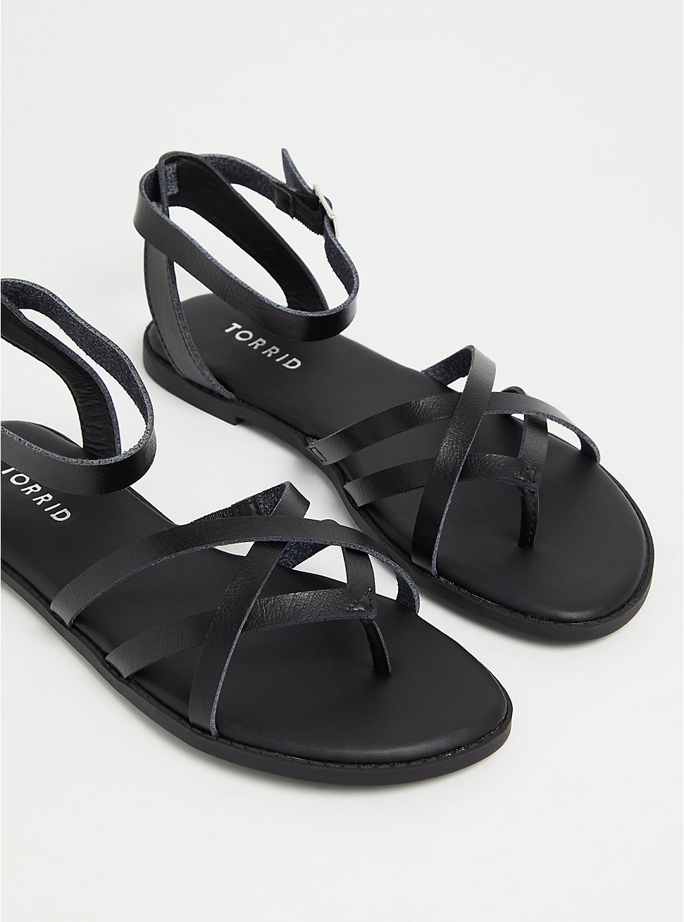 Black Faux Leather Strappy Gladiator Sandal (WW), BLACK, hi-res
