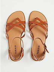 Plus Size Cognac Faux Leather Strappy Gladiator Sandal (WW), , alternate
