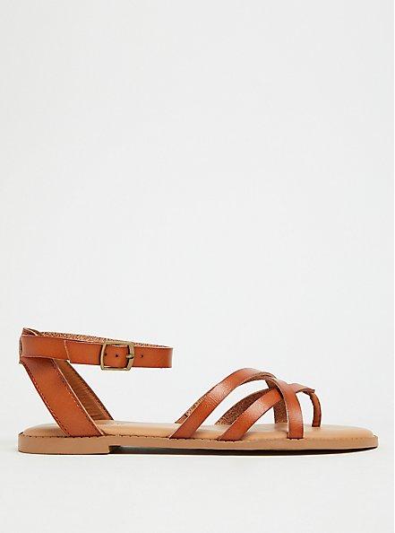 Plus Size Cognac Faux Leather Strappy Gladiator Sandal (WW), NUDE, alternate