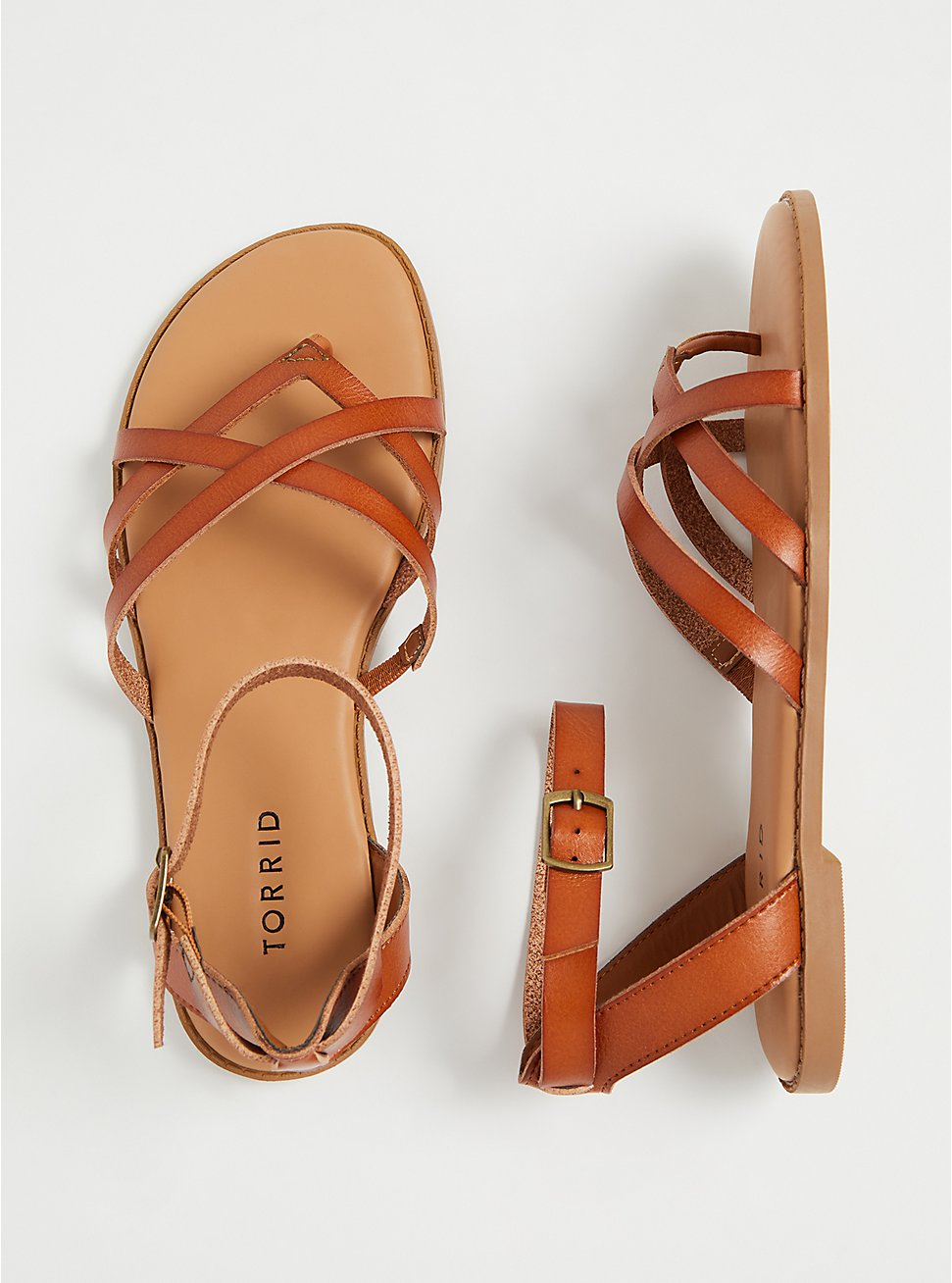 Cognac Faux Leather Strappy Gladiator Sandal (WW), , hi-res