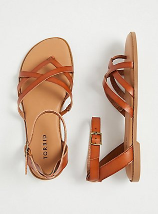 Plus Size Cognac Faux Leather Strappy Gladiator Sandal (WW), NUDE, hi-res