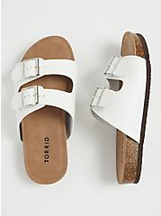 White Faux Leather Dual Strap Slide (WW), WHITE, alternate