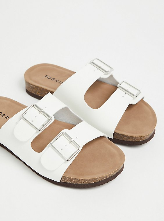 Plus Size White Faux Leather Dual Strap Slide (WW), , hi-res