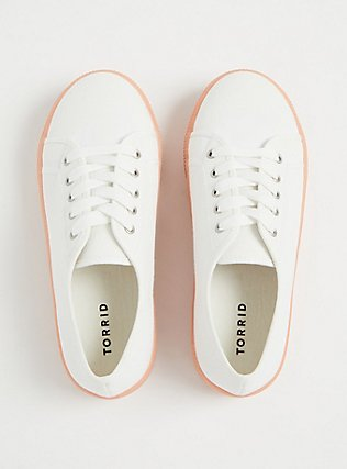 Plus Size White Canvas Lace-Up Platform Sneaker (WW), WHITE, alternate