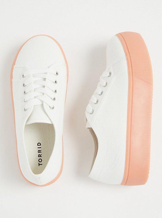 White Canvas Lace-Up Platform Sneaker (WW), , hi-res