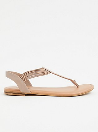 Plus Size Taupe Faux Leather Slingback Sandal (WW), TAN/BEIGE, alternate