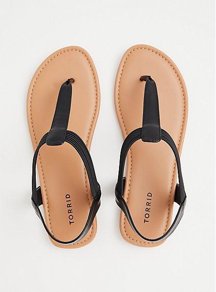 Plus Size Black Faux Leather Slingback Sandal (WW), BLACK, alternate