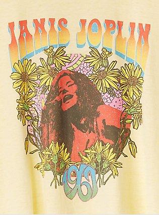 Janis Joplin Yellow Burnout Crop Crew Tee, , alternate