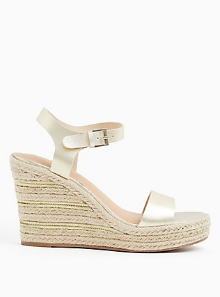 Gold Faux Leather Espadrille Platform Wedge (WW), GOLD, alternate