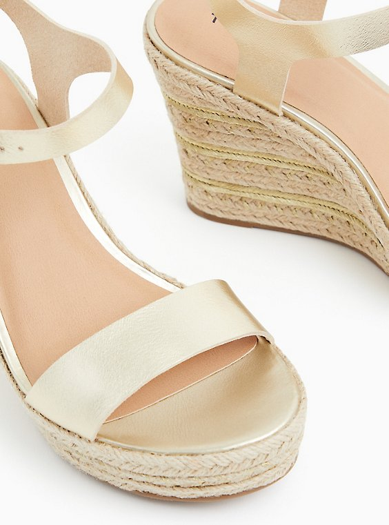Gold Faux Leather Espadrille Platform Wedge (WW), , hi-res