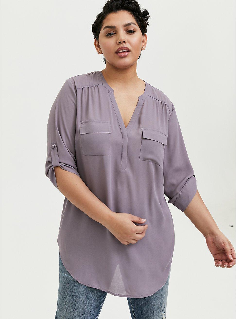 Plus Size Harper- Slate Gray Georgette Pullover Tunic Blouse, GRAY RIDGE, hi-res
