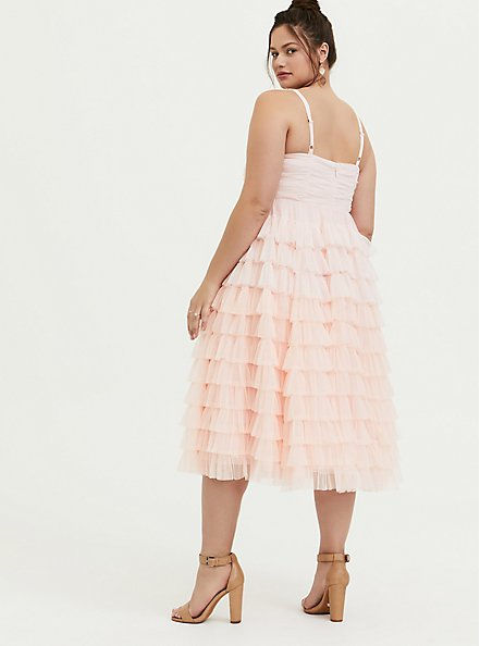 Special Occasion Peach Pink Mesh Tiered Ruffle Midi Dress, , alternate