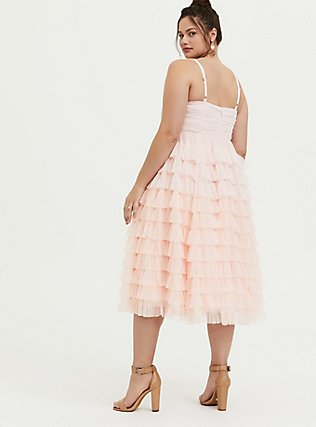 Plus Size Special Occasion Peach Pink Mesh Tiered Ruffle Midi Dress, , alternate