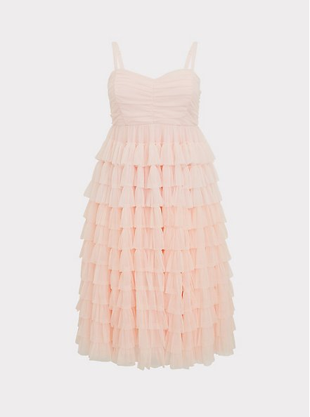 Special Occasion Peach Pink Mesh Tiered Ruffle Midi Dress, , hi-res