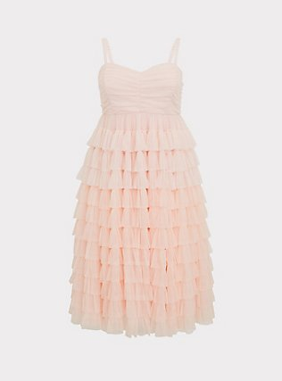 Special Occasion Peach Pink Mesh Tiered Ruffle Midi Dress, , flat