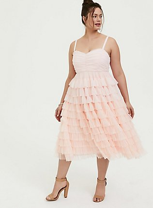 Plus Size Special Occasion Peach Pink Mesh Tiered Ruffle Midi Dress, , hi-res