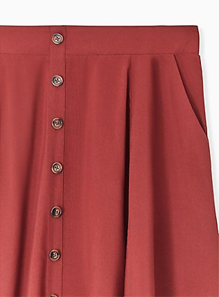 Brick Red Challis Button Front Mini Skirt, DOTS - BROWN, alternate