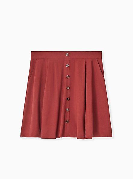Brick Red Challis Button Front Mini Skirt, DOTS - BROWN, hi-res