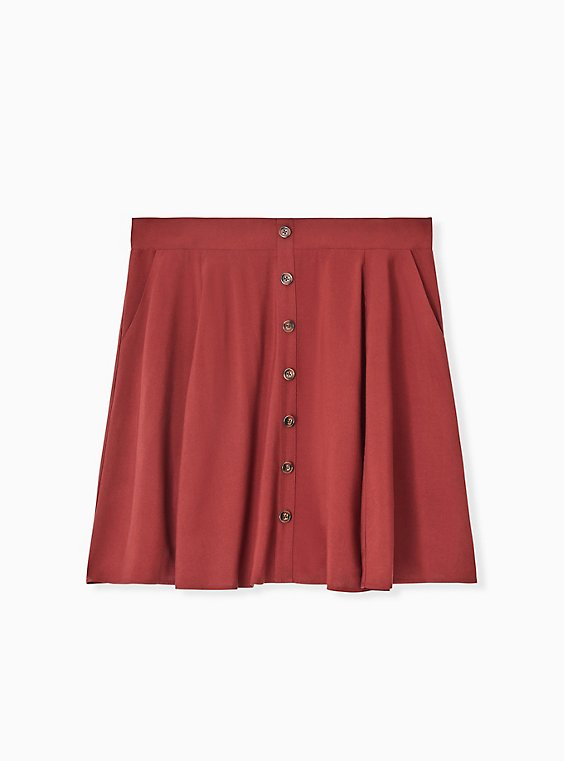Brick Red Challis Button Front Mini Skirt, , hi-res