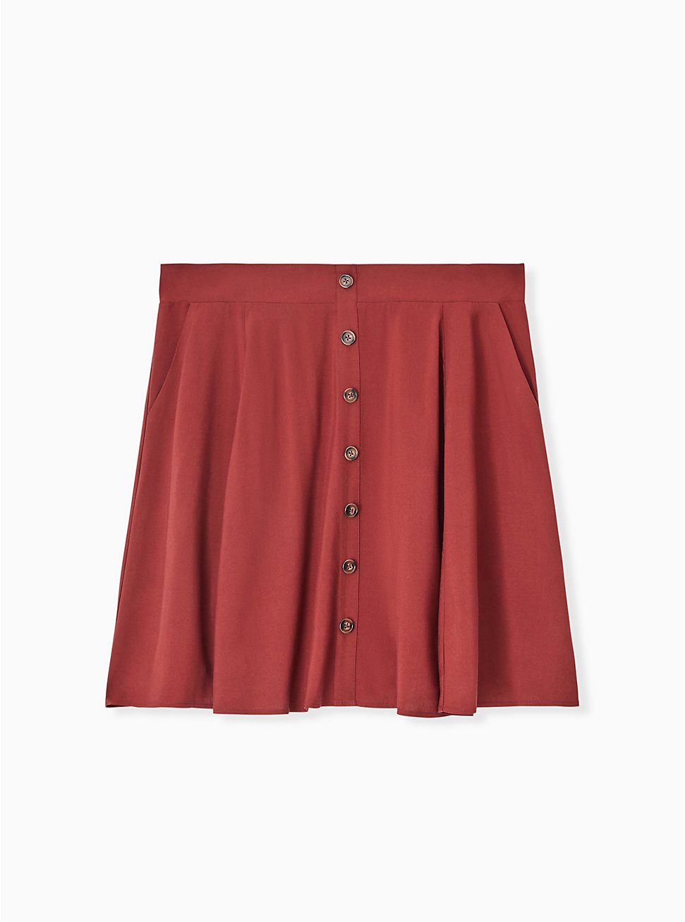 Brick Red Challis Button Front Mini Skirt, DOTS - BROWN, hi-res