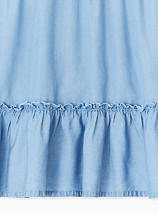 Blue Chambray Ruffle Mini Skirt, CHAMBRAY, alternate