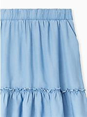 Plus Size Blue Chambray Ruffle Mini Skirt, CHAMBRAY, alternate