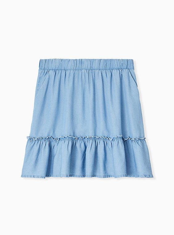 Plus Size Blue Chambray Ruffle Mini Skirt, , hi-res
