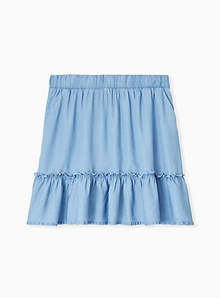 Blue Chambray Ruffle Mini Skirt, CHAMBRAY, hi-res
