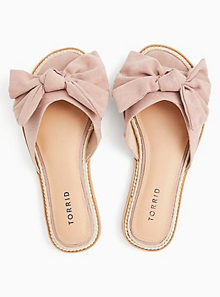 Blush Pink Faux Suede Bow Slide (WW), BLUSH, alternate