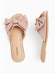 Blush Pink Faux Suede Bow Slide (WW), BLUSH, alternate