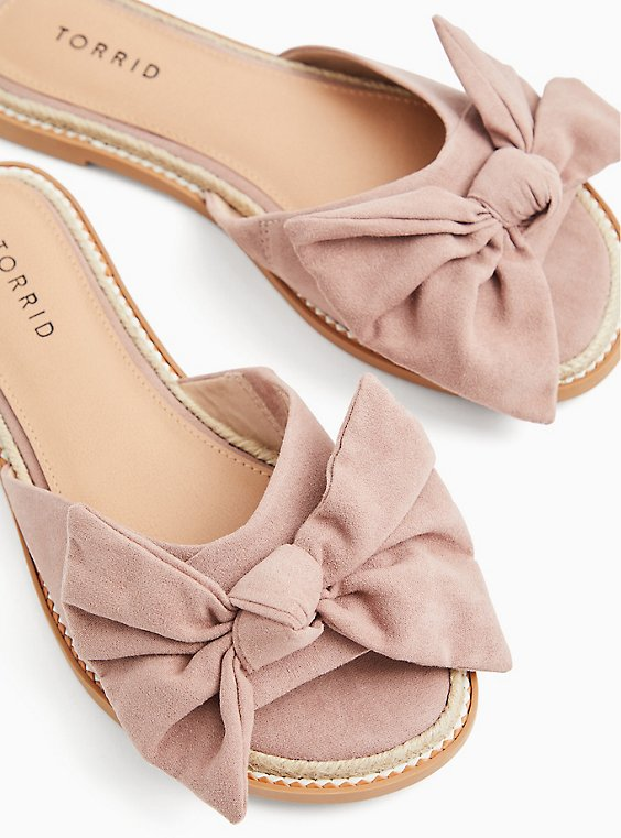 Plus Size Blush Pink Faux Suede Bow Slide (WW), , hi-res