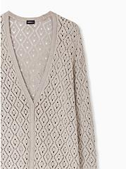 Plus Size Taupe Pointelle Button Front Boyfriend Cardigan, ATMOSPHERE, alternate