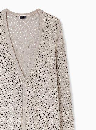 Taupe Pointelle Button Front Boyfriend Cardigan, ATMOSPHERE, alternate