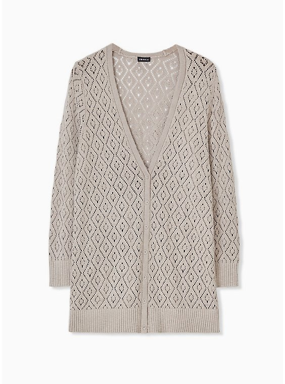 Taupe Pointelle Button Front Boyfriend Cardigan, , hi-res