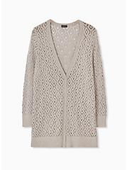 Taupe Pointelle Button Front Boyfriend Cardigan, ATMOSPHERE, hi-res