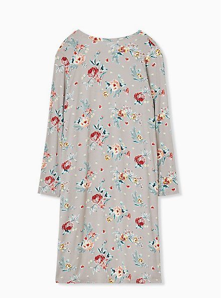 Plus Size Super Soft Taupe Floral Open Front Longline Cardigan, FLORAL - BLUE, alternate