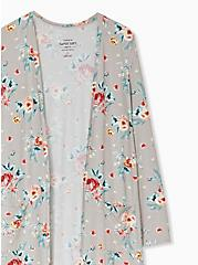 Plus Size Super Soft Taupe Floral Open Front Longline Cardigan, FLORAL - BLUE, alternate