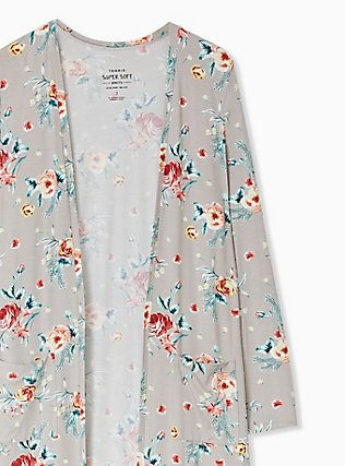Super Soft Taupe Floral Open Front Longline Cardigan, FLORAL - BLUE, alternate