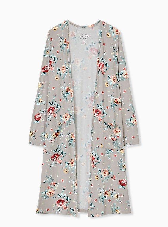 Super Soft Taupe Floral Open Front Longline Cardigan, , hi-res