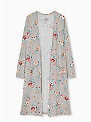 Plus Size Super Soft Taupe Floral Open Front Longline Cardigan, FLORAL - BLUE, hi-res