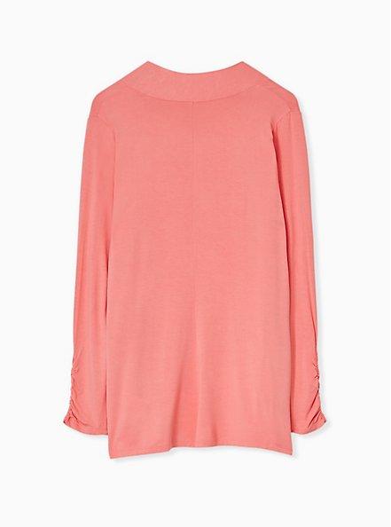 Plus Size Super Soft Coral Open Front Cardigan, WILD ORANGE, alternate